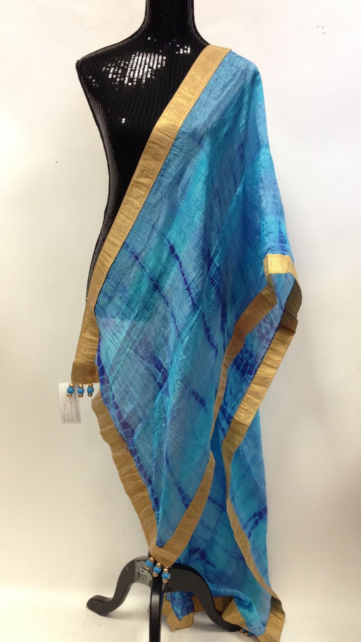 Silk Dupatta - Blue & Golden