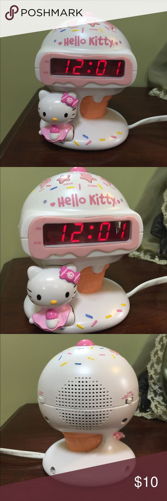 "Hello kitty radio alarm clock ice cream come works Used hello kitty radio alarm clock white and pink measures about 6"" so cute- save money on items and shipping by bundling with me- please look at my other items I have a ton of hello kitty Hello Kitty Accessories"