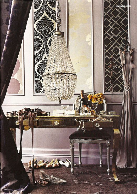 glamourDecor, Dressing Rooms, Chandelier, Tv Wall, Interiors, Vanities, Desks, Dresses Room, Frames Wall