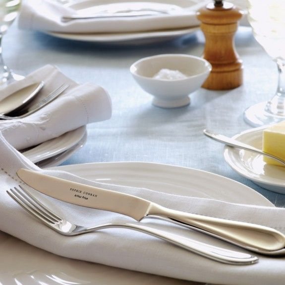 Upgrade your crockery and give your guests a taste of something special.  This Sophie Conran silverware is simple but stunning.