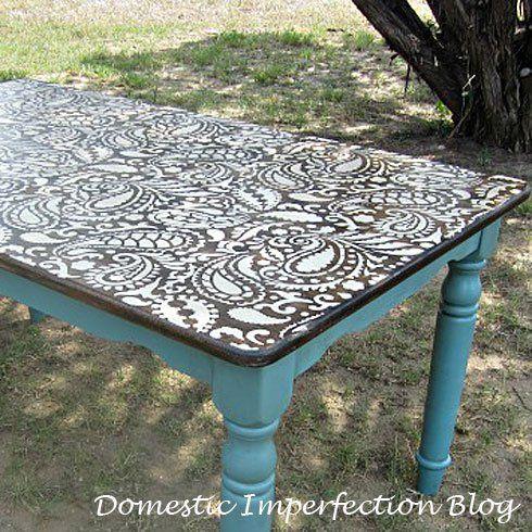 pochoir paisley pour d corer ma table et le mur de la chambre deco pinterest pochoir. Black Bedroom Furniture Sets. Home Design Ideas