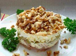 Рецепт №1: Салат «Принц» с говядиной чесноком и солеными огур...