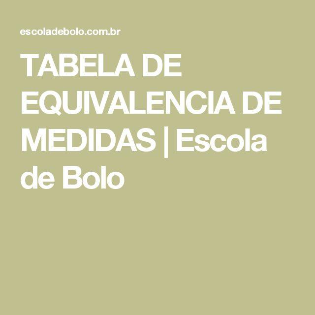 TABELA DE EQUIVALENCIA DE MEDIDAS   Escola de Bolo