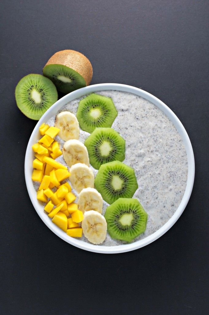 Chia seed #breakfast bowl. High fibre, protein and omega 3 fatty acids. #vegan, #glutenfree