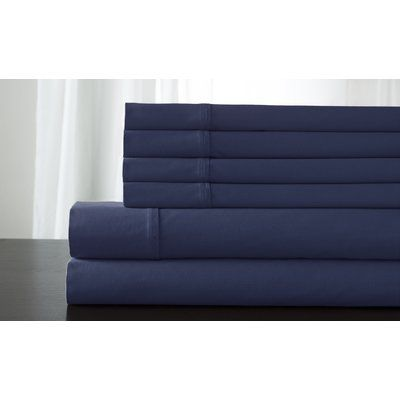 Elite Home Products Camden 350 Thread Count 100% Cotton Sheet Set Size: Twin XL, Color: Pacific Blue