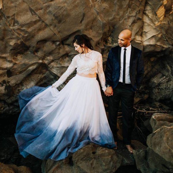 dip dyed indigo wedding dress - photo by Alexandria Monette http://ruffledblog.com/15-enviable-indigo-wedding-ideas