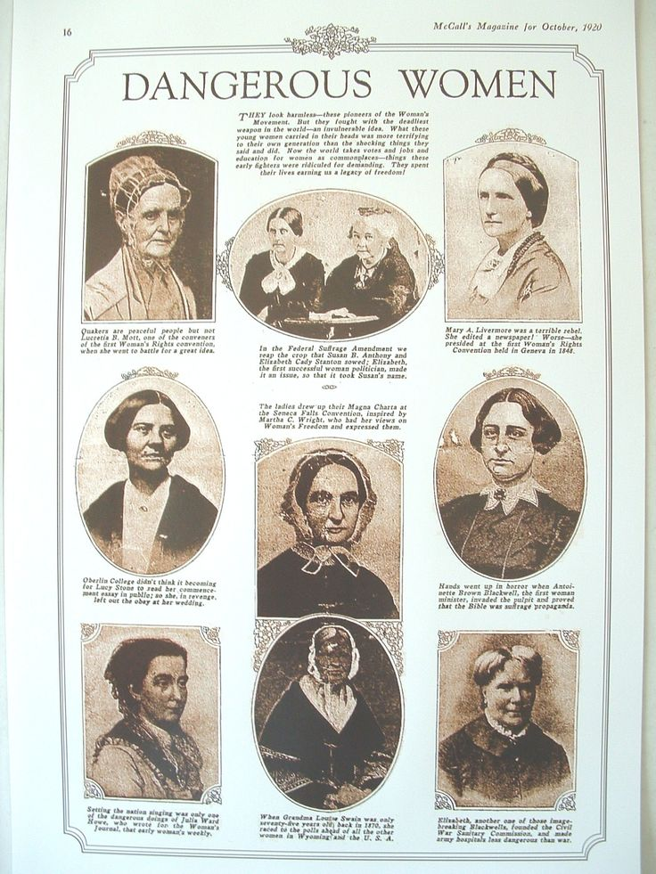 Susan B. Anthony, Elizabeth Cady Stanton, Lucretia B. Mott, the Blackwell sisters, Julia Ward Howe, Lucy Stone, Mary A. Livermore, Martha C.Wright