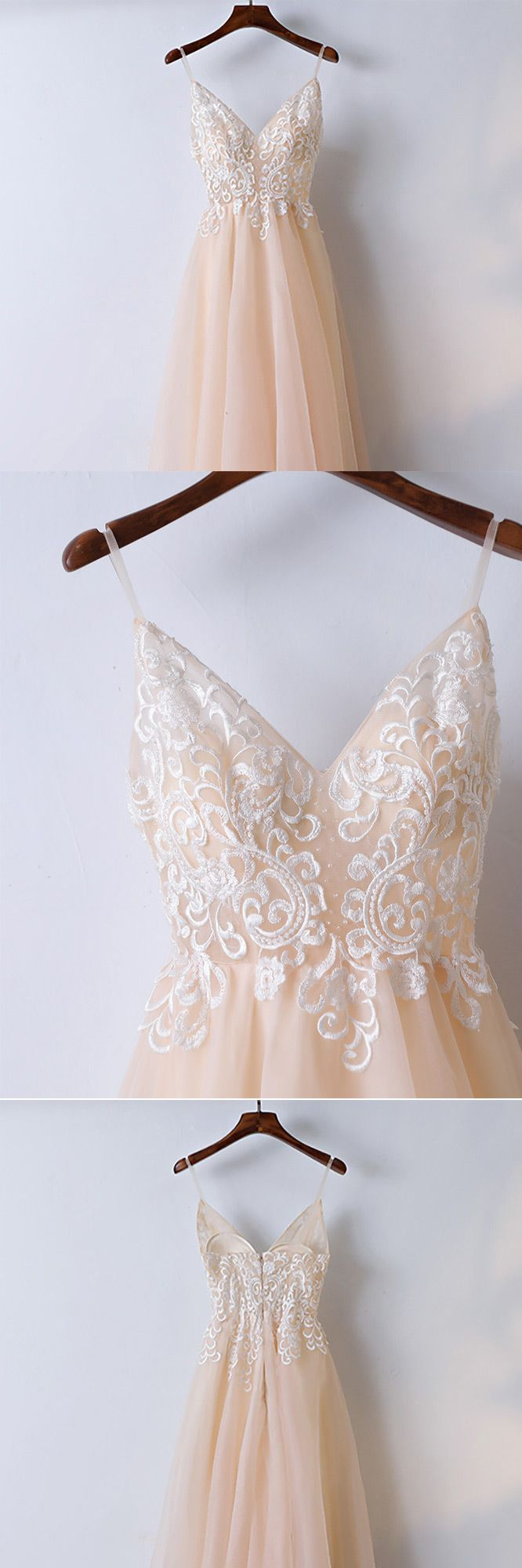 Only $118, Prom Dresses Boho Champagne Lace Long Prom Dress With Spaghetti Straps #MYX18059 at #GemGrace. View more special Bridal Party Dresses,Prom Dresses,Homecoming Dresses now? GemGrace is a solution for those who want to buy delicate gowns with affordable prices, a solution for those who have unique ideas about their gowns. 2018 new arrived, shop now!