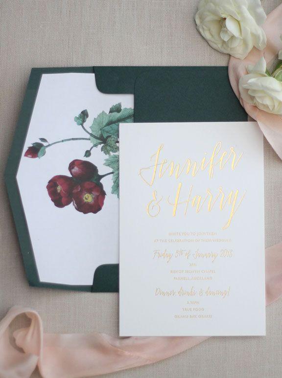 Just My Type Wedding Invitation Stationery Nz Gold Foil Blush Pink Forest Green L Wedding Invitations Stationery Wedding Invitations Custom Wedding Invitations