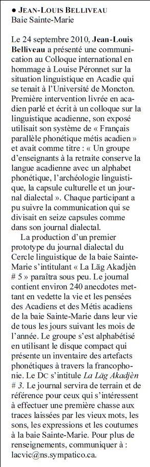 Le français parallèle phonétique métis acadien
