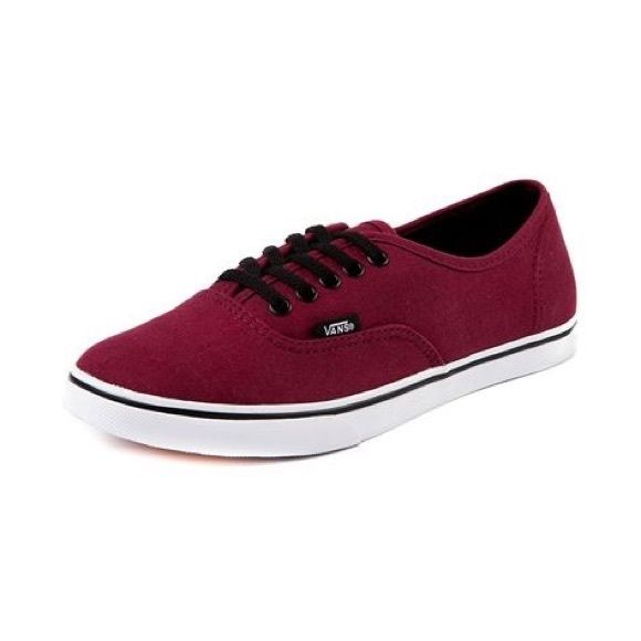 Maroon low pro Vans Burgundy/ dark red color, slim heel, black laces, new without box. Women's size 8, men's 6.5 PRICE FIRM Vans Shoes Sneakers