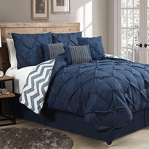 Avondale Manor Ella 7-Piece Reversible Queen Comforter Set in Navy #ComforterSets