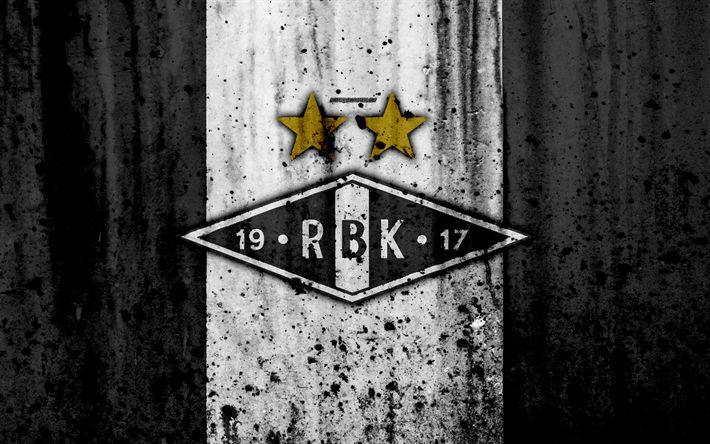 Download wallpapers 4k, FC Rosenborg, grunge, Eliteserien, art, soccer, football club, Norway, Rosenborg, logo, stone texture, Rosenborg FC