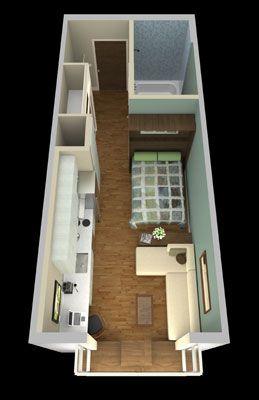14m² 1 Zimmer Wohnung Patrick Kennedy : 150 Sq.ft.