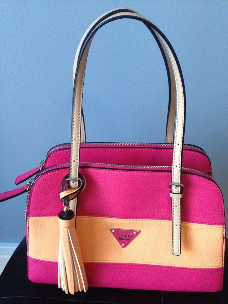 Women Guess Satchel Handbag Purse Pink Multicolor Multizip Compartments Likenew    eBay