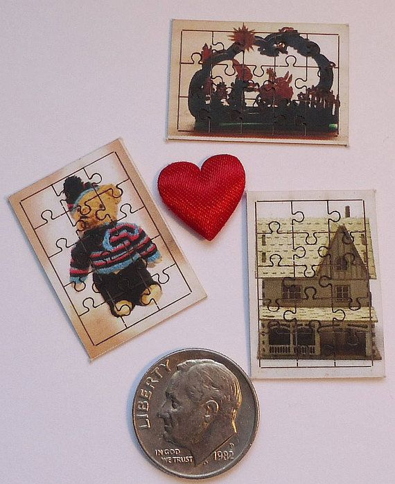 MInature Puzzles for Doll House 1:12 Set of Three Teddy