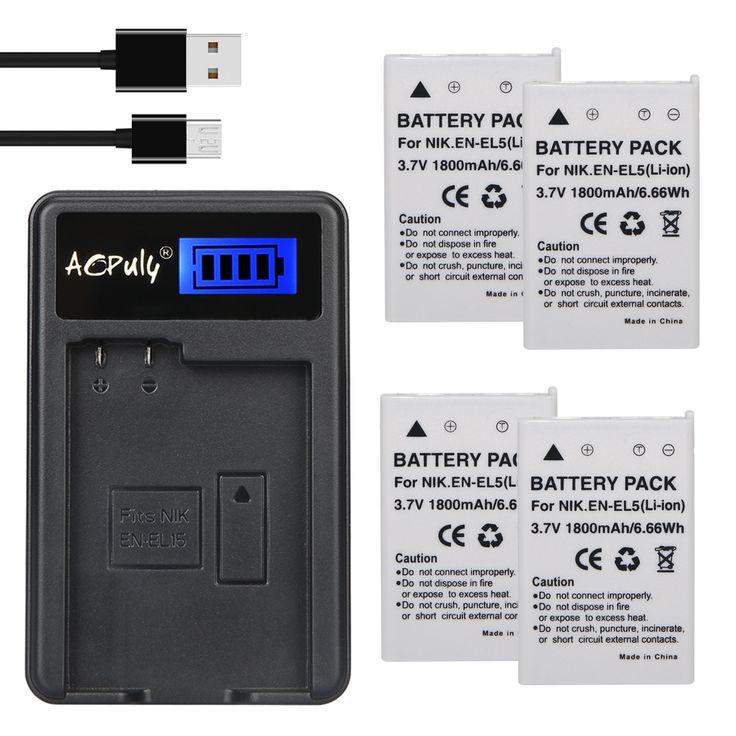 4pc 1800mAh EN-EL5 EN EL5 Li-ion Digital Camera Battery + LCD USB Charger For Nikon Coolpix P90 P510 P530 P5000 P5100 5200 7900 #Affiliate