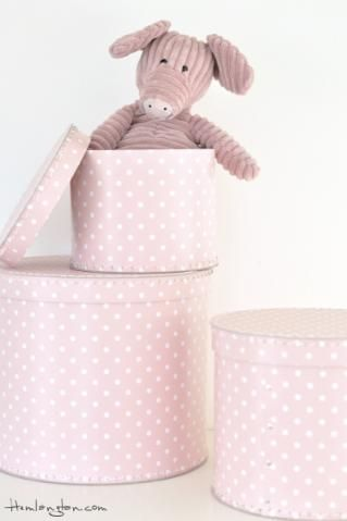 I love hat style storage boxes, and these are pink with dots!