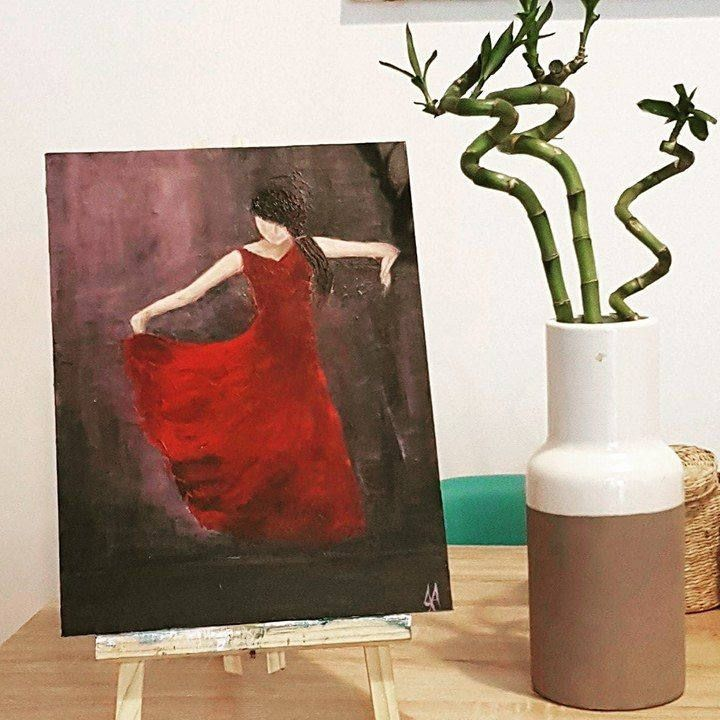 Flamenco Dancer Painting Original Acrylic Wall Art on Canvas Woman in red dress - FREE EU shipping by DeniseArtStudio on Etsy