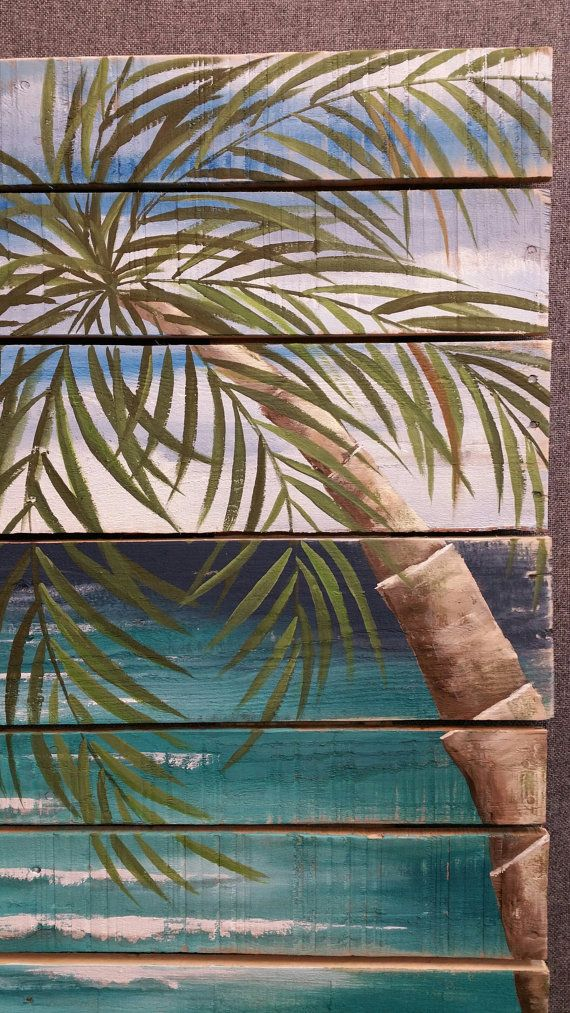 Reclaimed Wood Pallet Art BEACH Hand painted, Pallet wall decor, Seascape horizon, oceanscape, upcycled Distressed, Palm tree Dimensions: 30 wide by 40 tall Are you looking for a bright art piece for your cottage or your home for this summer? This calm, ocean scene is painted on reclaimed pallet wood that has been spaced slightly for a unique appearance. It has been slightly aged by sanding areas and the edges. **This is the original pictured. Your Purchased picture would be painted 10-14...