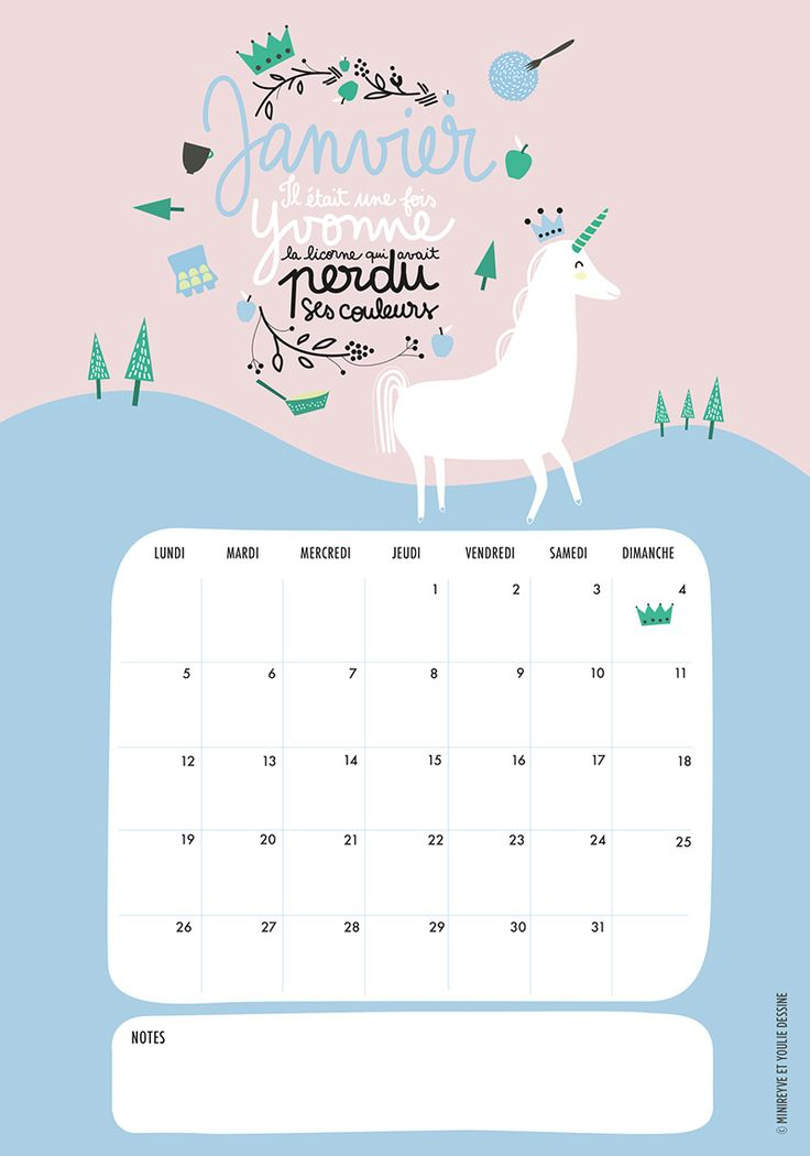 Free Printable Calendar January 2015 with unicorn illustration