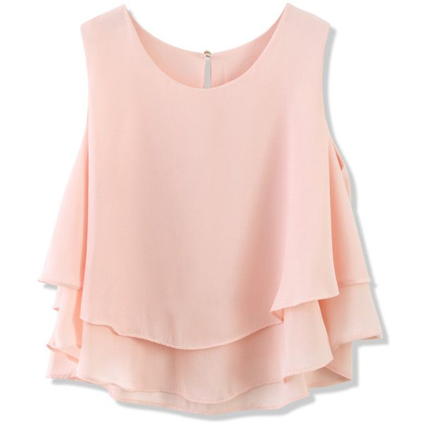 Layered Chiffon Crop Top in Pink ($40) ❤ liked on Polyvore featuring tops