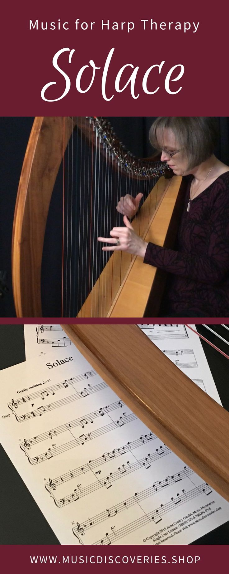 Solace, by Anne Crosby Gaudet is a beautiful, soothing piece for harp therapy, meditation or personal reflection. Solace is about finding comfort when you are feeling sad or worried. The resonance of the low strings, paired with a relaxing pulse and the familiar repetition of patterns creates a space for healing. #harpmusic #harptherapy