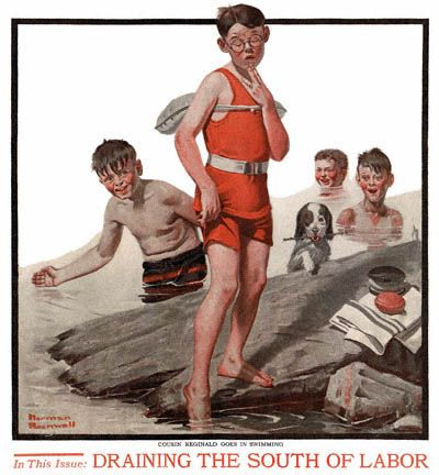 Cousin Reginald Goes in Swimming by Norman Rockwell (1917) The Country Gentleman