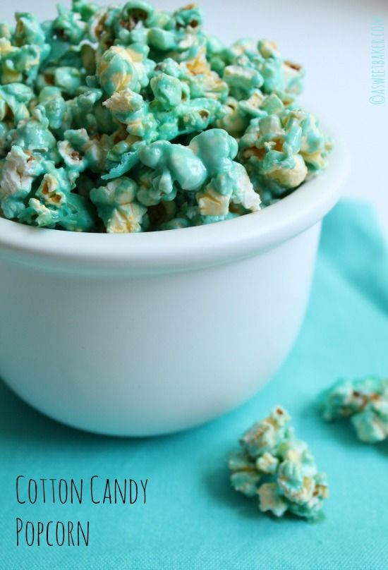 Cotton Candy Popcorn is perfect for your next family movie night!  by www.asweetbaker.com on www.whatscookingwithruthie.com #recipes #dessert