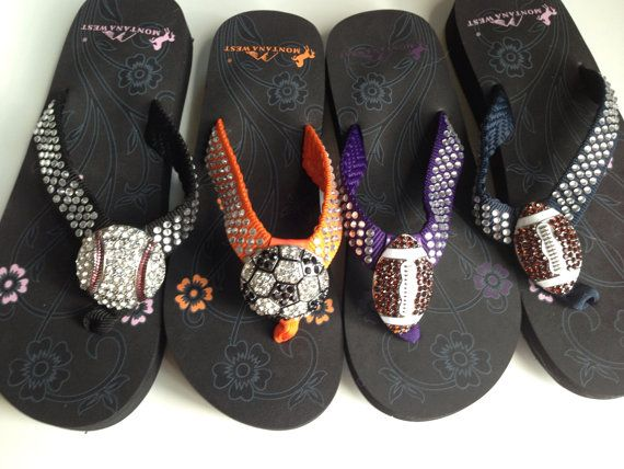 Baseball Soccer Basketball and Football Flip Flops.  All different colors.  Non wedge and great quality. on Etsy, $35.00