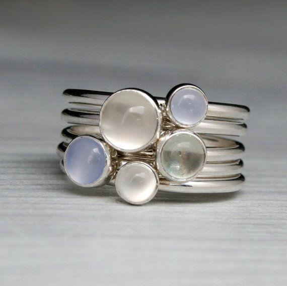 Lichtgevende edelsteen ringen, Sterling Zilver, stapelbare Set van 5 ringen, Moonstone, groene Amethist Prasiolite, blauwe Chalcedoon stapelen