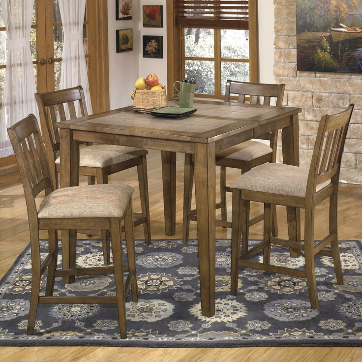 Brazenton 5 Pc Counter Butterfly Extension Table Set By Signature Design Ashley