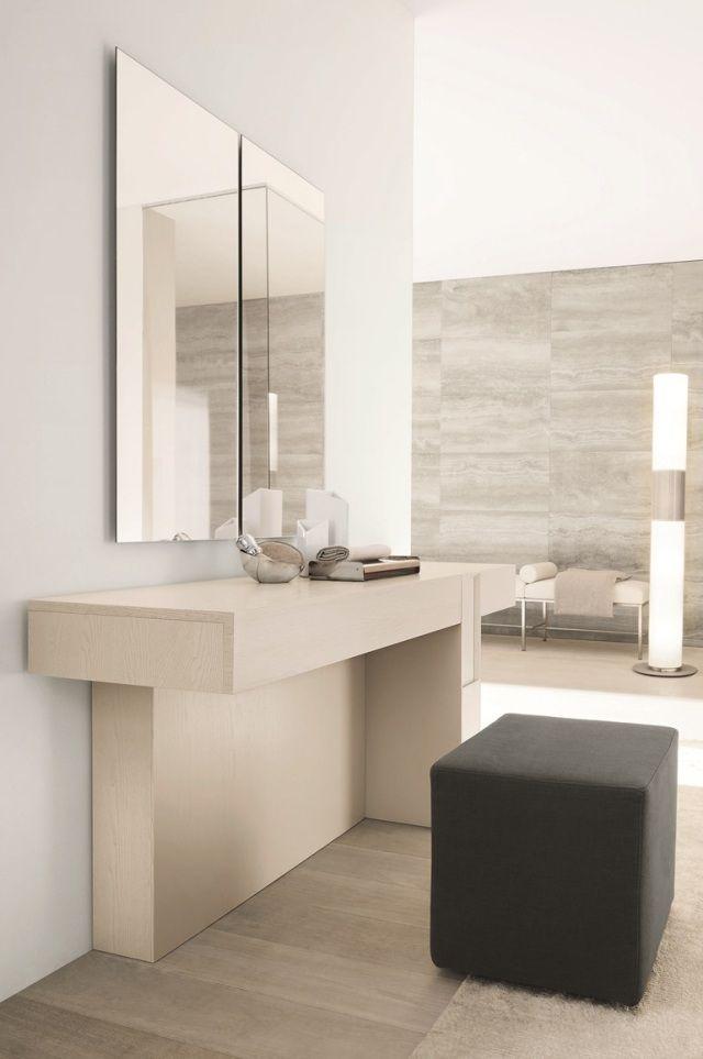 schminktisch design helles holz wandspiegel modern schlicht SMA - schlafzimmer mit badezimmer