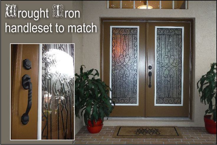 Wrought iron front doors with matching wrought iron handles. Black wrought iron between the glass in double front doors. http://glassdoorstampa.com/wrought-iron-front-entry-doors/