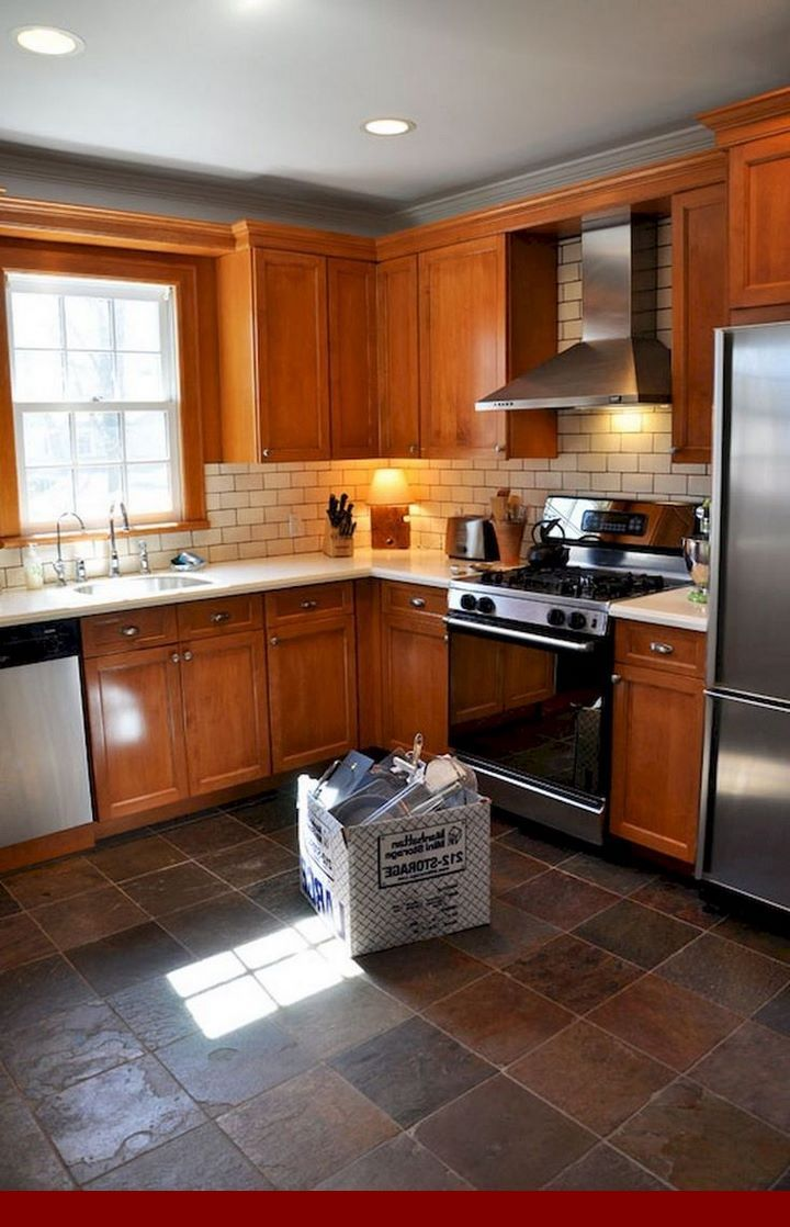 Top tips for - farmhouse kitchen with honey oak cabinets ...