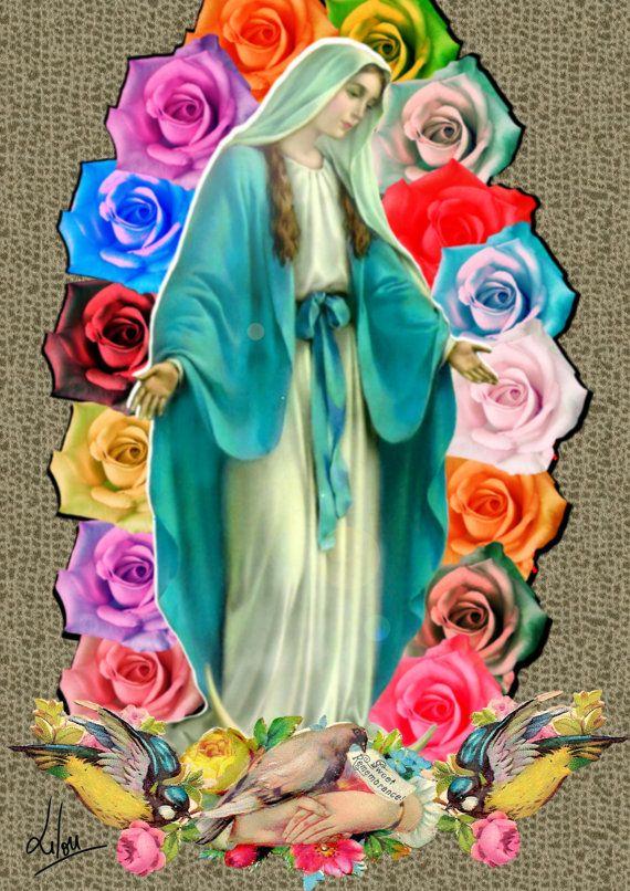 """Carte Postale """"Vierge aux roses""""   Postale, Illustration et Vierge"""