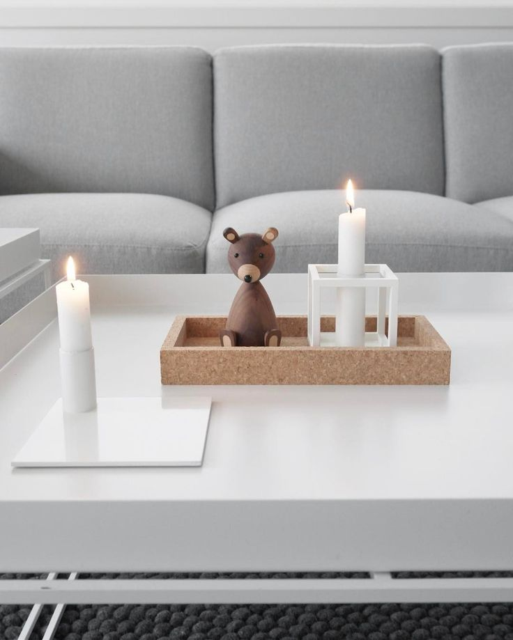 MALLING LIVING Square Candle Holder White and Cork Tray. Image by @ingvild90