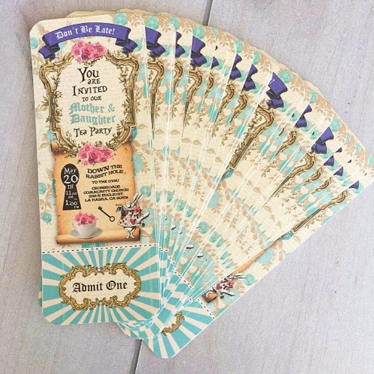 The tickets are perfect for this Mothers and Daughters Tea Party  Thank you Kirsten for sharing this beautiful pictures with us.  Alice in Wonderland Ticket Invitation