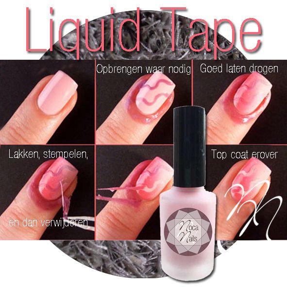 Nieuw bij www.nocanails.nl, Liquid Tape. De peel off liquid tape is een latex vloeistof voor het makkelijk en snel werken met nail art. Het heeft bovendien een lekker geurtje. Het is handig voor een french manicure, stempelen en ook voor het aanbrengen van een kleurtje zelf zodat de lak niet in de nagelriemen loopt.