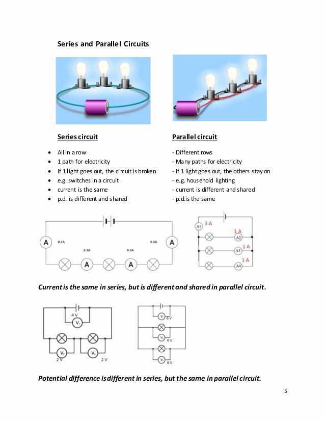 Series And Parallel Circuits Worksheet Lovely Current Voltage And Resistance In Cir Series And Parallel Circuits Circuits Science Congruent Triangles Worksheet