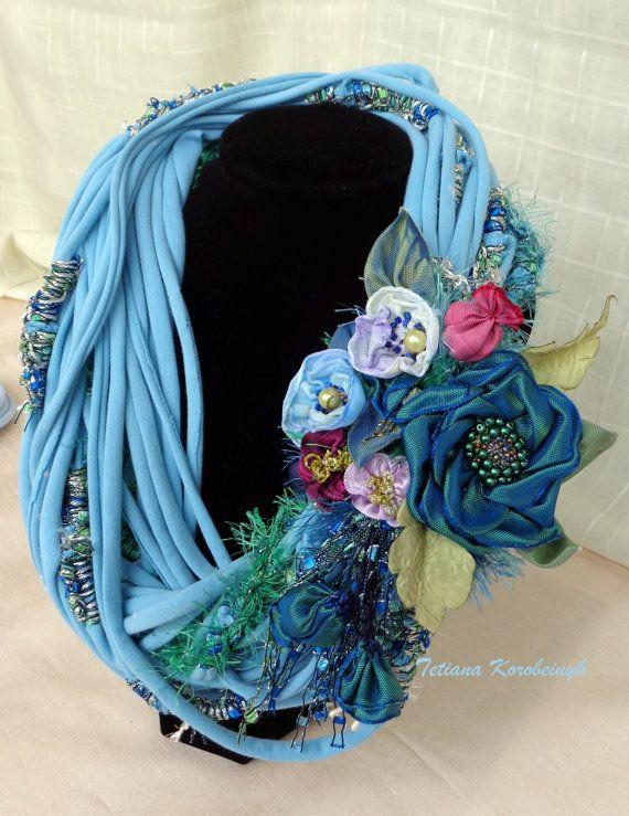 Collana di stile boho, shabby chick,   fiori di nastro, di moda, Bohostyle…