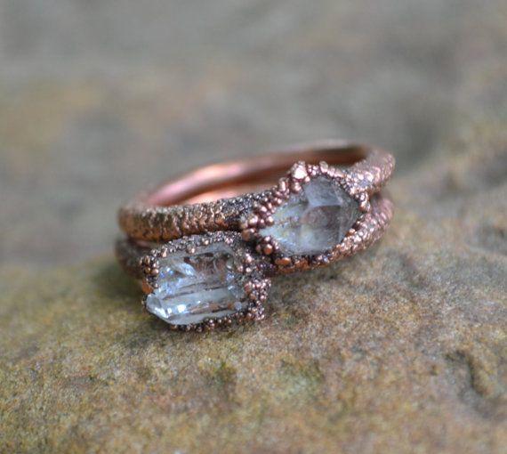 Herkimer diamant Ring, Electroformed koperring, ruwe Crystal Ring, koperen ringen, natuurlijke stenen ringen, unieke verlovingsring, trouwring door THEHOUSEOFMINERALS