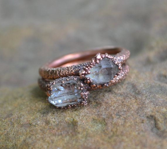 Herkimer Diamond Ring, Copper Electroformed Ring, Raw Crystal Ring, Copper Rings, Natural Stone Rings, Unique Engagement Ring, Wedding Ring