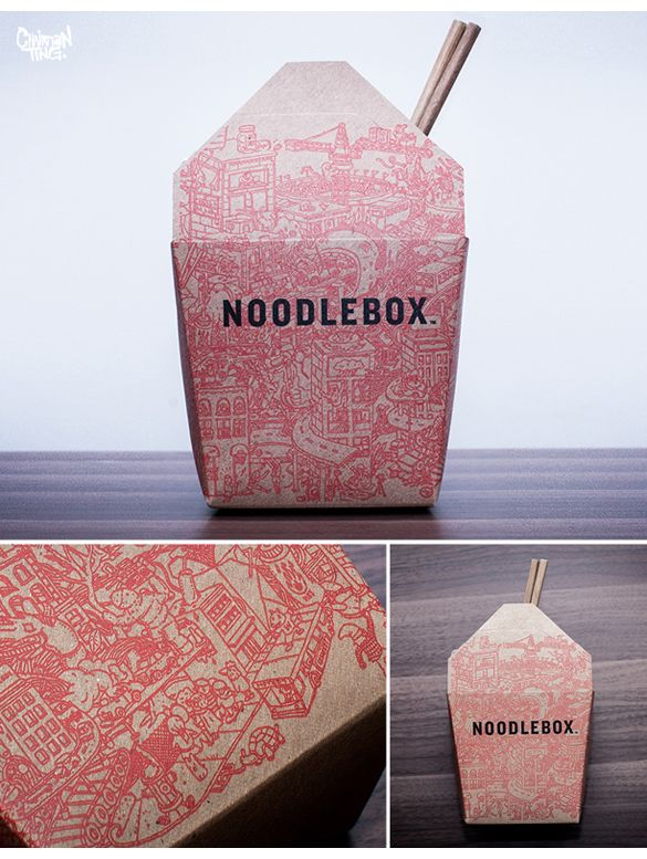 Take out Noodle Box illustrated #packaging PD