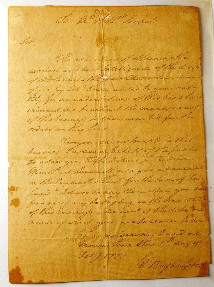 George Washington S Letter To Nathaniel Sackett