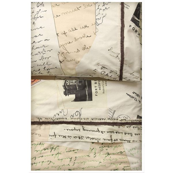 Love Letters Sheet Set (325 CAD) found on Polyvore featuring home, bed & bath, bedding, bed sheets, anthropologie, sheets, cream, vintage bedding, cream bedding and beige bedding