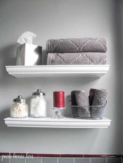 Bathroom Update  Gray Walls and Red Accent Colors. 17 Best ideas about Bathroom Shelf Decor on Pinterest   Bathroom