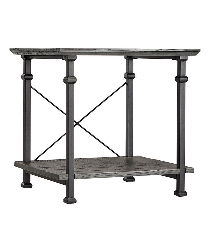 Gray Metal End Table