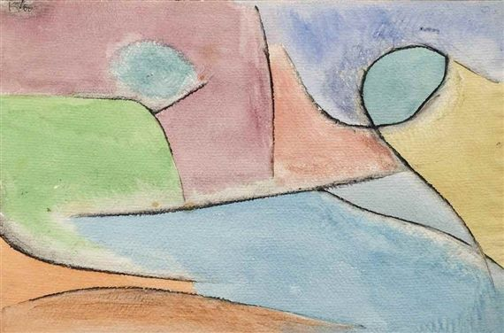Artwork by Paul Klee, Parklandschaft (Park Landscape), Made of watercolour, charcoal and paste on paper 1937