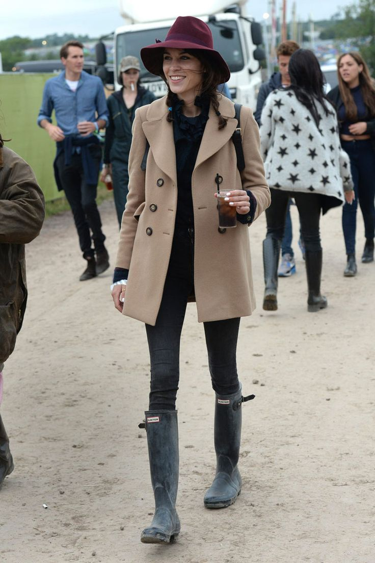 Alexa Chung in the Glastonbury festival